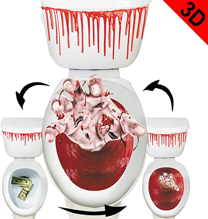 Toilet Seat Cover 3D Horror Morphing Decal for Halloween Theme Party Home Decor (Zombie Hand&Dollar&Blood)