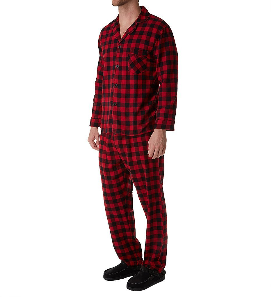 Hanes Big and Tall Flannel Plaid Pajama (Red XL-T)