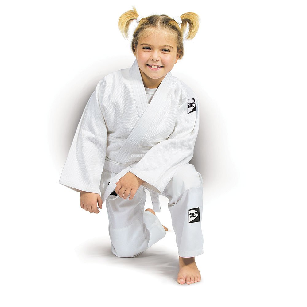 GREEN HILL JUDO GI KIDS with WHITE BELT, Single Weaved made of 100% Cotton Twill Cloth Specially for Children's Skin Care