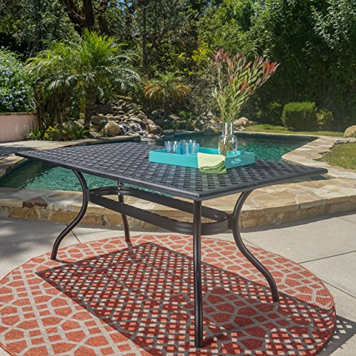 Rectangle Outdoor Dining Table - GDF Studio Taylor Black Sand Cast Aluminum Rectangle Table