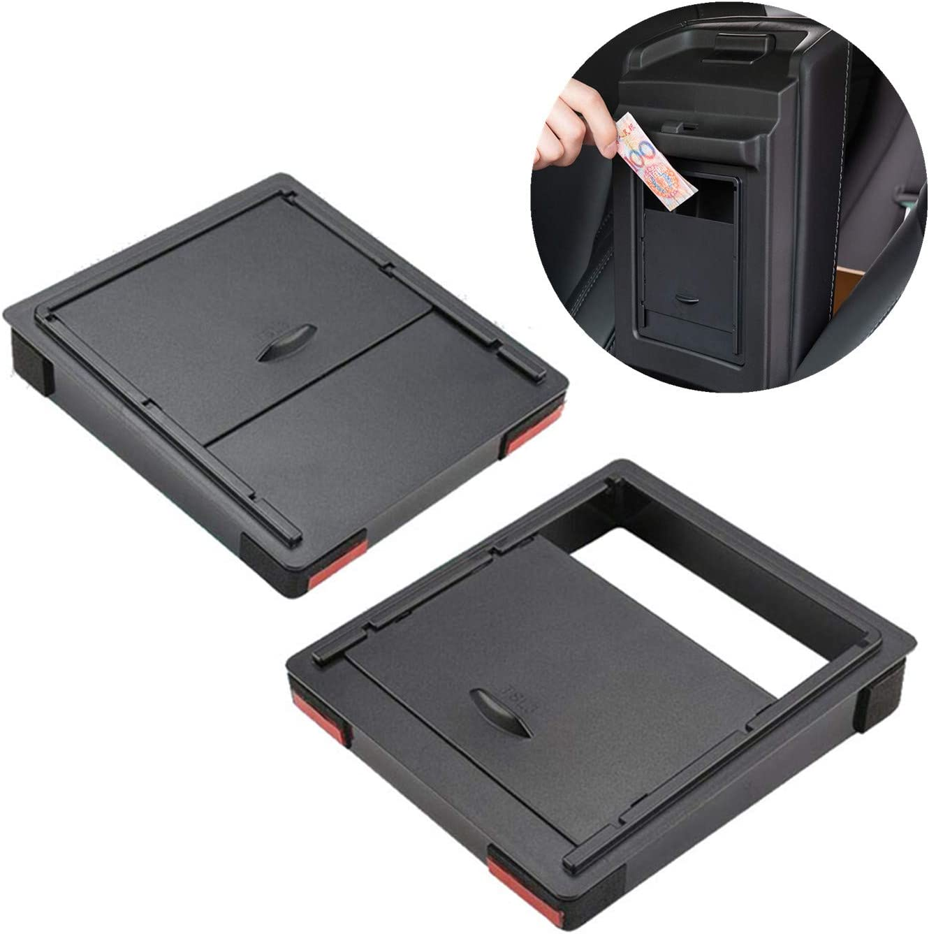 Center Console Hidden Organizer Tray,Armrest Hidden Storage Box for Tesla Model 3 Model Y Accessories