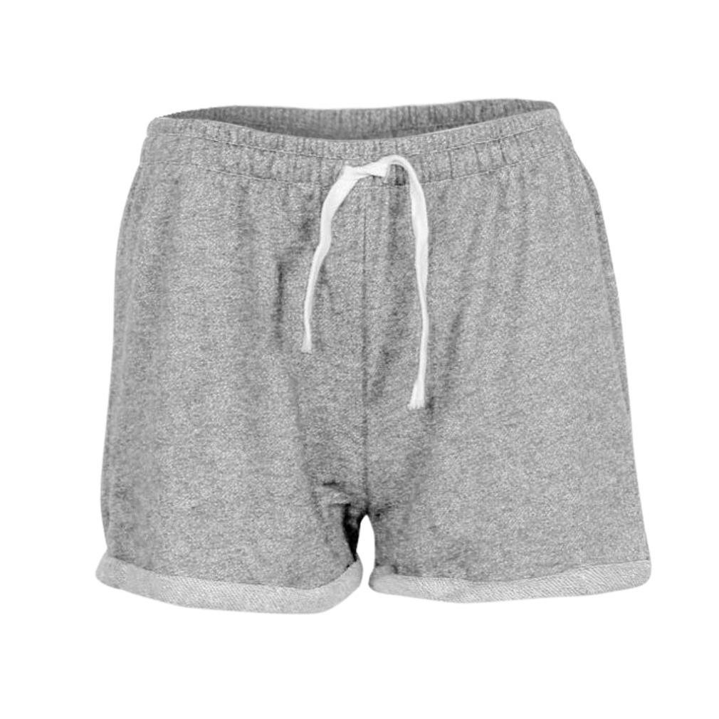 BSGSH Women Shorts Casual Athletic Hot Shorts Lounge Sweat Shorts Elastic Waist (S, Gray)
