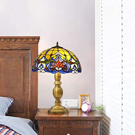 BEAR&MH Luz de Mesa, Estilo Europeo Tiffany Lámpara de Mesa ...