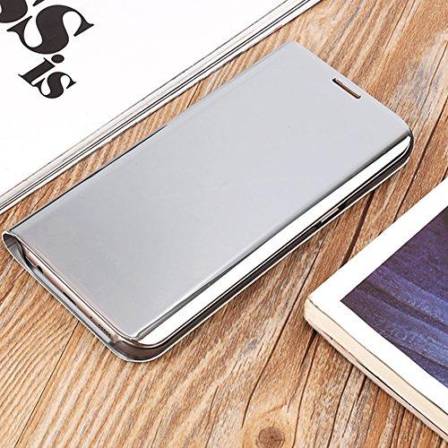 Funda Inteligente Libro Espejo WAKE UP / SLEEP Clear View Standing Cover para Samsung Galaxy S6, Vandot Slim Fit Smart Carcasa de Cuero + Plating PC Stand Flip Full Body Funda Protectora con Función K Clear View-2