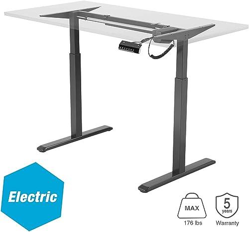 AVLT Standing Electric Desk Frame – 49.2 Height Adjustable Motorized Desk Legs – Sit Stand Desk Electric Converter – True Height Display Keypad – Desk Frame Only – Black