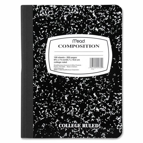 Wholesale CASE of 25 - Mead College-ruled Composition Book-Compostion Book, Bookbound, 7-1/2''x9-1/2'', Black Marble
