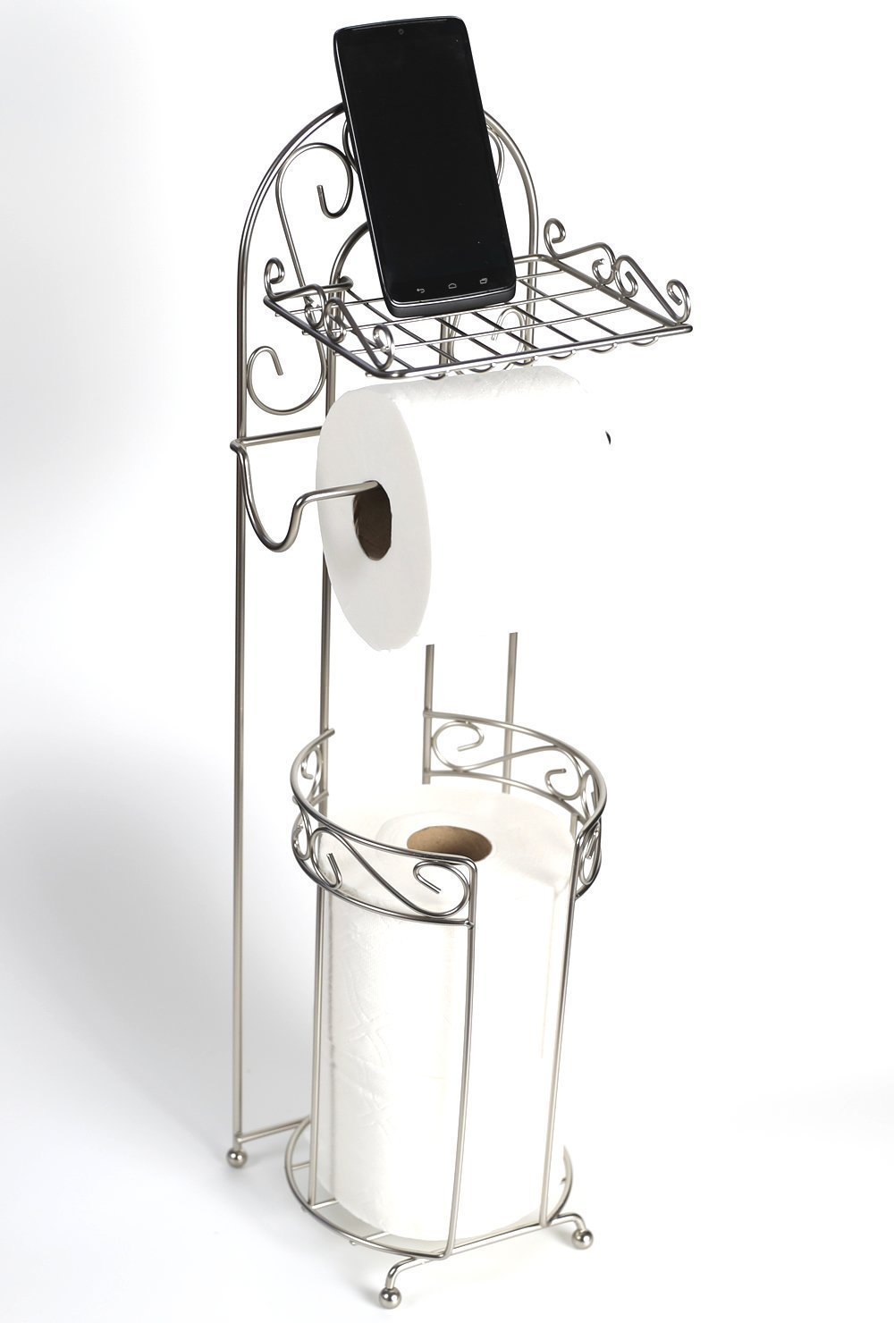 McLee Creations FSTP-SN Free Standing Toilet Paper Holder with Phone Shelf for Bathroom