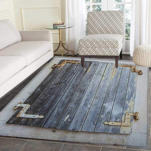 - Shutters Rugs for Bedroom Wooden Window Shutters with Shabby Paint Rusty Antique Traditional Village Picture Circle Rugs for Living Room 3'x5' Charcoal