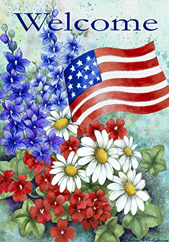 Toland - Patriotic Welcome - Decorative America Red White Flower Floral Blue USA-Produced Garden Flag