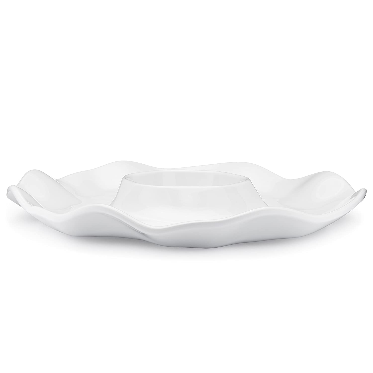 Q Squared Ruffle in Round BPA-Free Melamine Small Oval Platter White 14-Inches by 10-Inches
