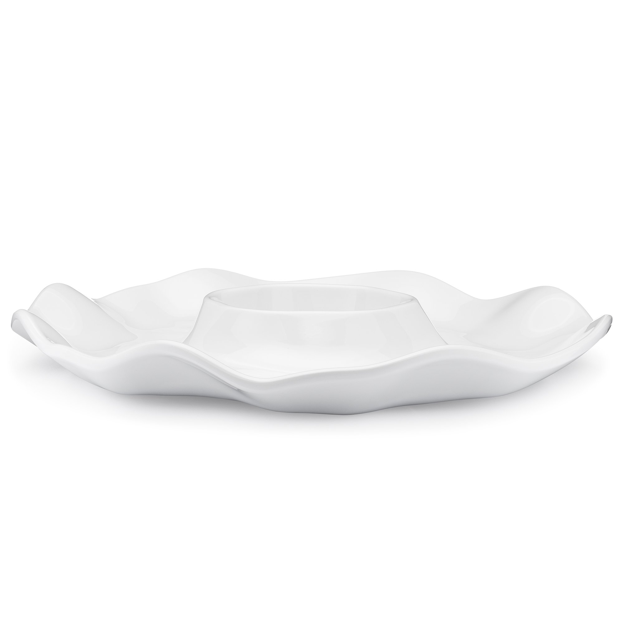 Q Squared Ruffle BPA-Free Melamine Chip & Dip Platter, 16-Inches, Luxe White