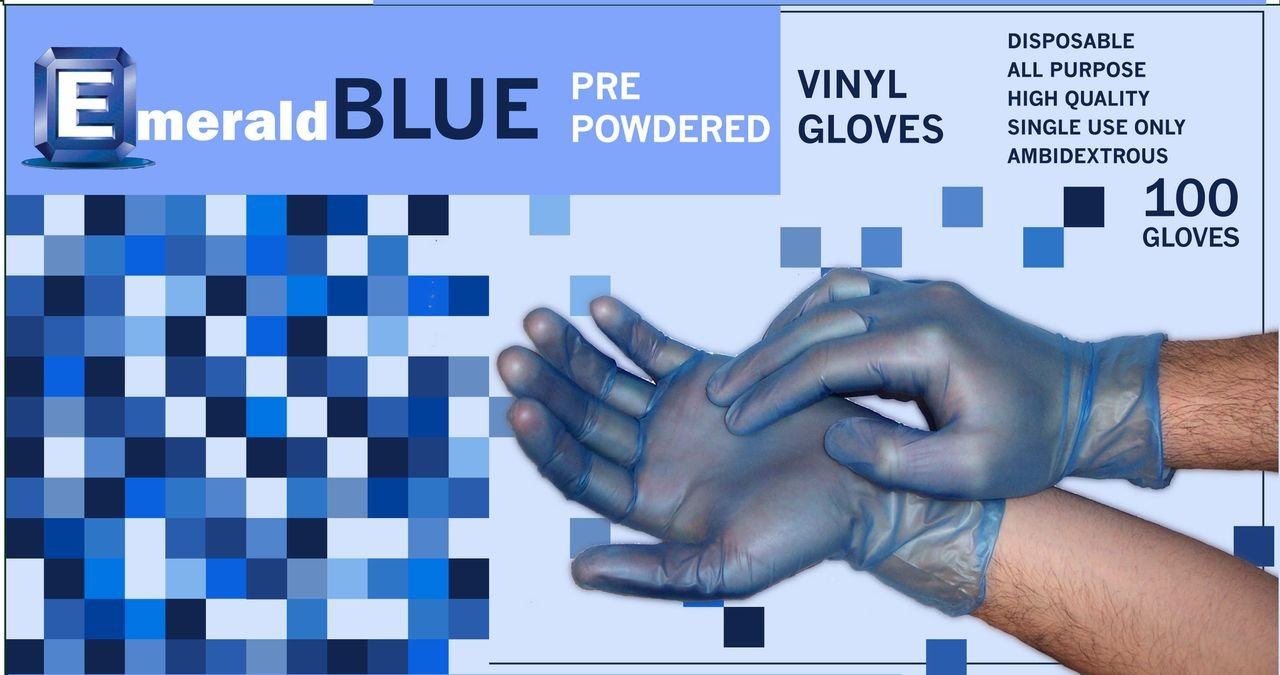 Emerald Shannon Blue Powdered 5120 Vinyl Gloves, Full Case, Size MEDIUM