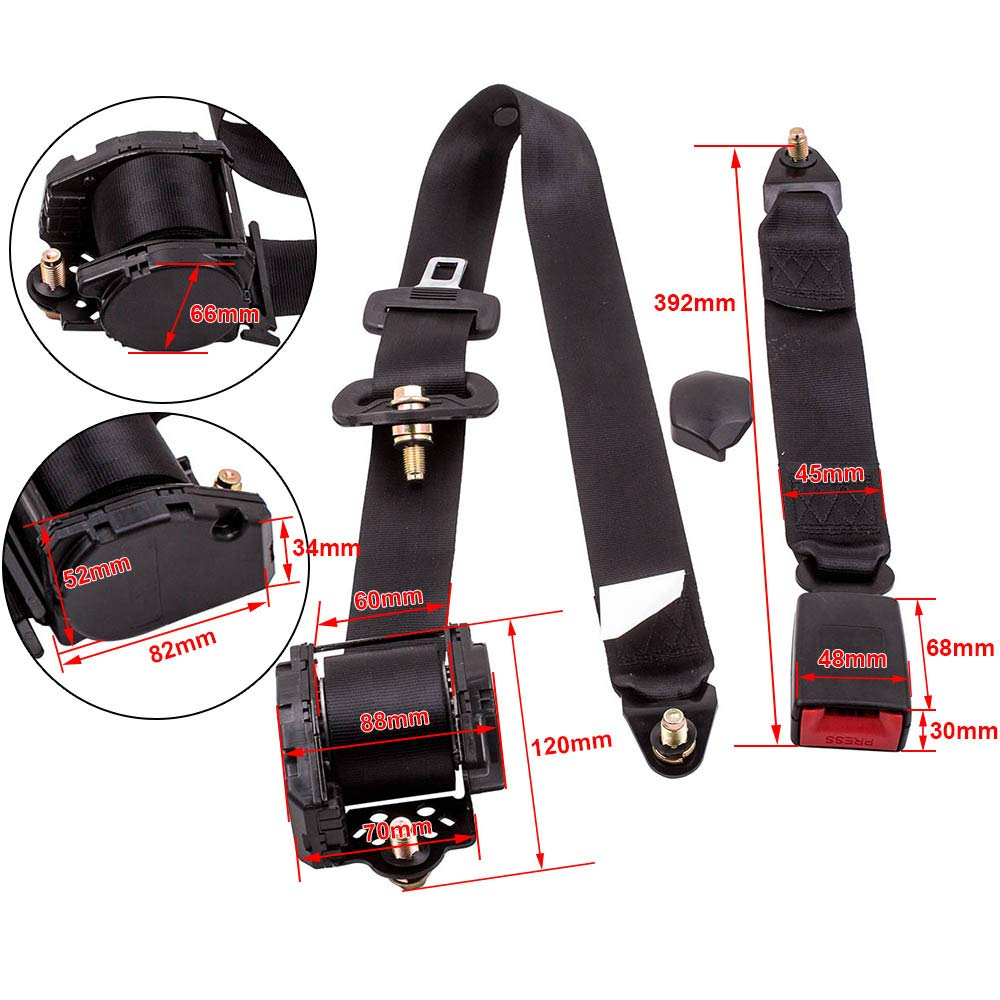maXpeedingrods 1 Set of 3 Point Safety Adjustable Retractable Auto Car Seat Belt Lap Universal