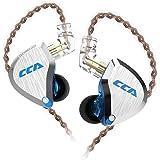 CCA C12 イヤモニ型 ハイブリッド イヤホン 高音質 カナル型 片側 バランスド・アーマチュアドライバー5基+ダイナミック1基を搭載 6ドライバ イヤホン 高遮音性 音源と相性がよく リケーブル 可能 (ブルー)