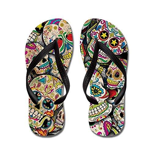 (CafePress - Sugar Skull Collage - Flip Flops, Funny Thong Sandals, Beach Sandals Black)