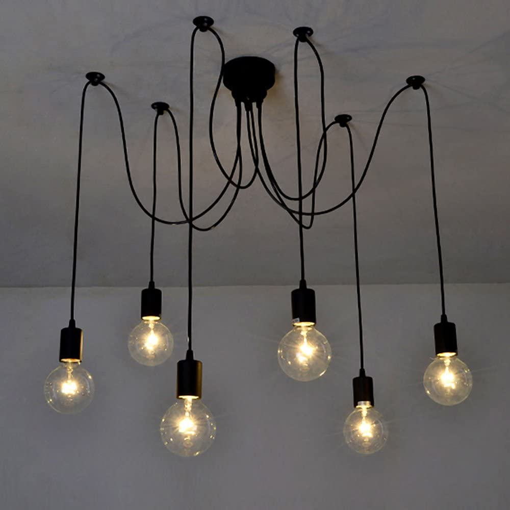 amazon co uk chandelierslixada 6 arms(each with 1 7m wire) antique classic edison lamp shade ajustable