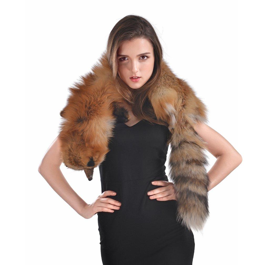 OLLEBOBO Women's Genuine Fox Fur Scarf Winter Elegant Shawl Pashmina red fox