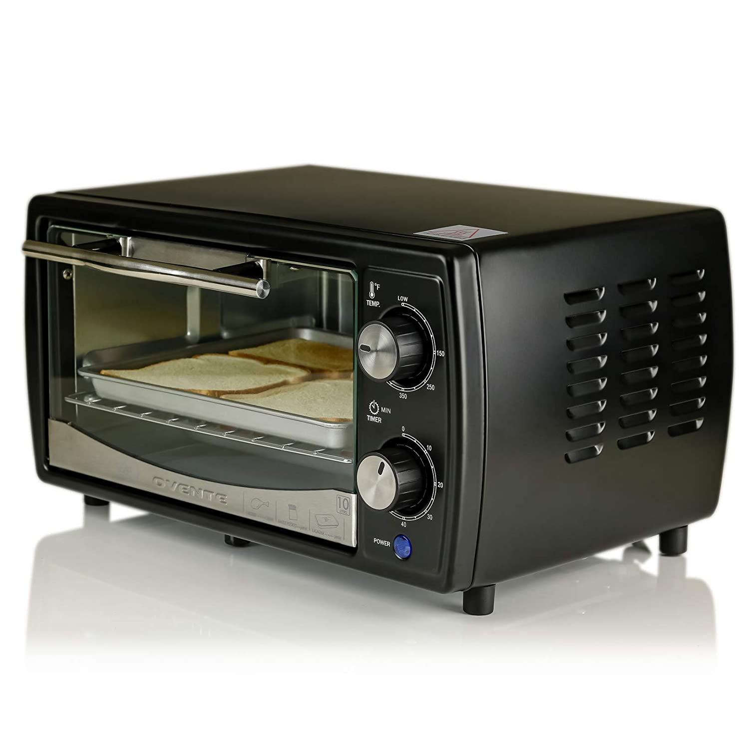 Ovente Electric Toaster Oven with Timer Knob and Tempered Glass Door, 700-Watts, 9.5 Liter, Cool-Touch Handle, Includes LED Light, Food Tray, and Grill Rack, Black (TO6895B)