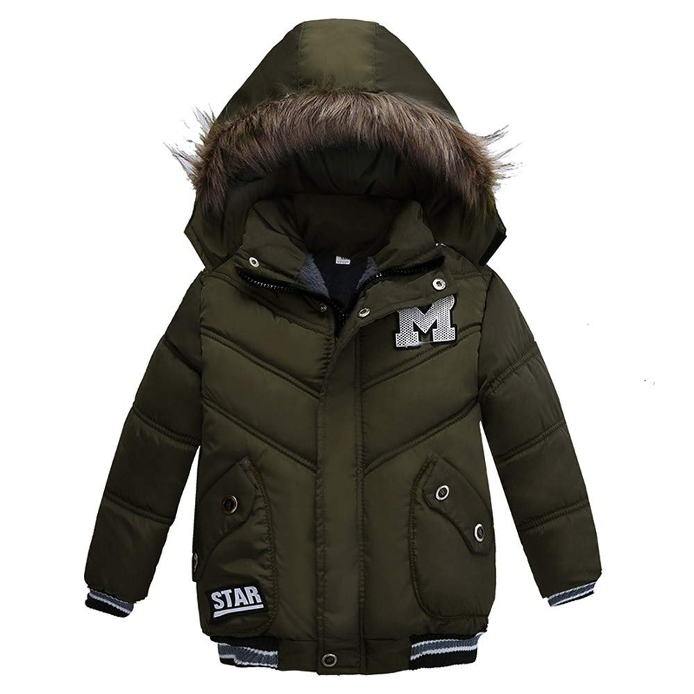 HOMEBABY Children Winter Warm Cotton Padded Hooded Coat Kids Girl Boy Pocket Jacket Thick Cardigan Hoodie Casual Long Sleeve Tops Clothes 3-7 Years