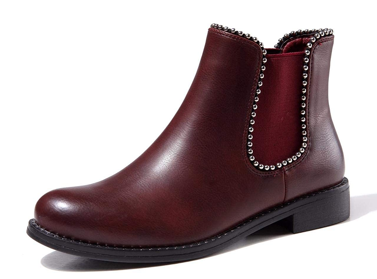 Wine Red CAMSSOO Women's Flat Chelsea Boots Walking Boots for Women Elastic Waterproof Round Toe Ankle Boots