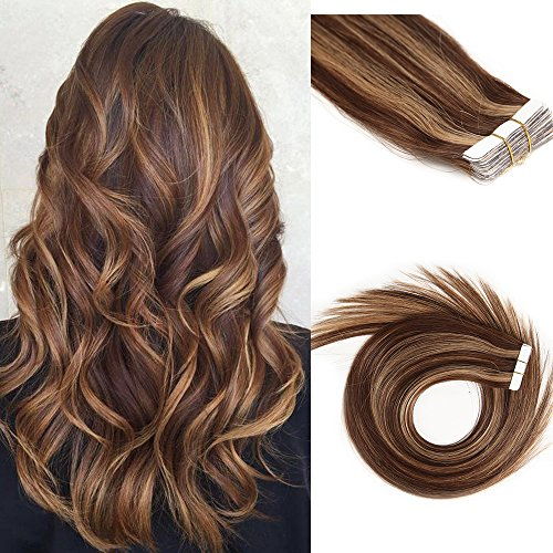 Tape in Hair Extensions Human Hair Medium Browm/Strawberry Balayage Hair Extensions 30g 16 inch #4/27 Glue in Tape on Highlighted Extensions Silky Straight Skin Weft 20 Pcs/Package -