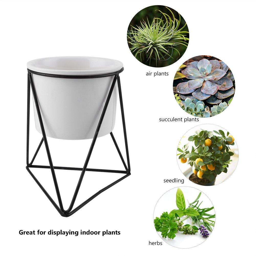 Modern Planter with Geometric Metal Rack Garden Plant Display Stand Holder for Succulent Planter Cactus/ Black Pot+Black Frame Ceramic Flower Pot