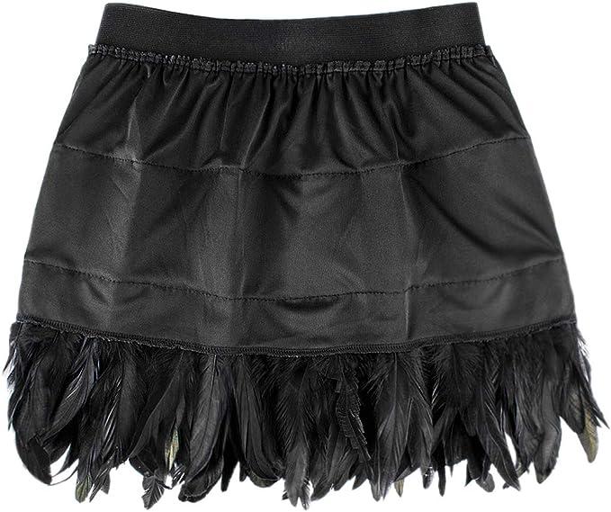 ANSUG Mujeres Falda de Plumas Negras Mini Pretina elástica A-Line ...