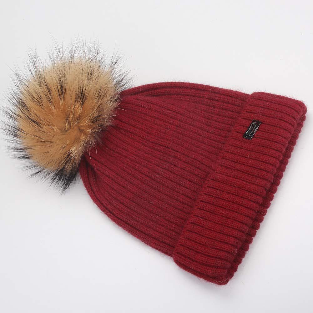 FURTALK Kids Winter Beanie Hat Toddler Real Fur Pom Knit Hat Boy Girl Aged 2-8