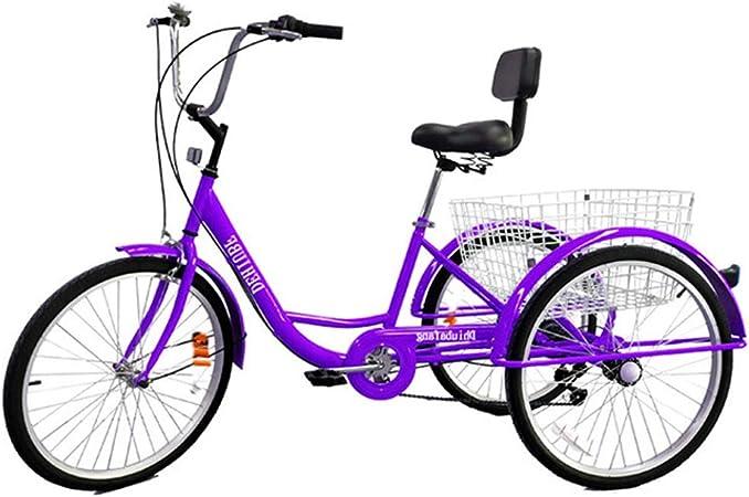 TTFGG Compras Bicicleta Triciclo De Adulto,24 Pulgadas Bicicleta De 3 Ruedas,con Gran Cesta del Respaldo del Asiento,Adecuado para Adolescentes,Señoras, Hombres,Compras,Deportes,Ocio,Púrpura: Amazon.es: Hogar