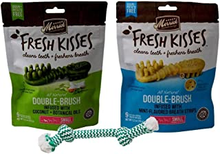 product image for Merrick Small Dog Grain Free Dental Health Treats 2 Flavor Variety with Minty Rope Toy Bundle, 1 Each: Fresh Kisses Coconut Oil and Fresh Kisses Mint (9 Count)