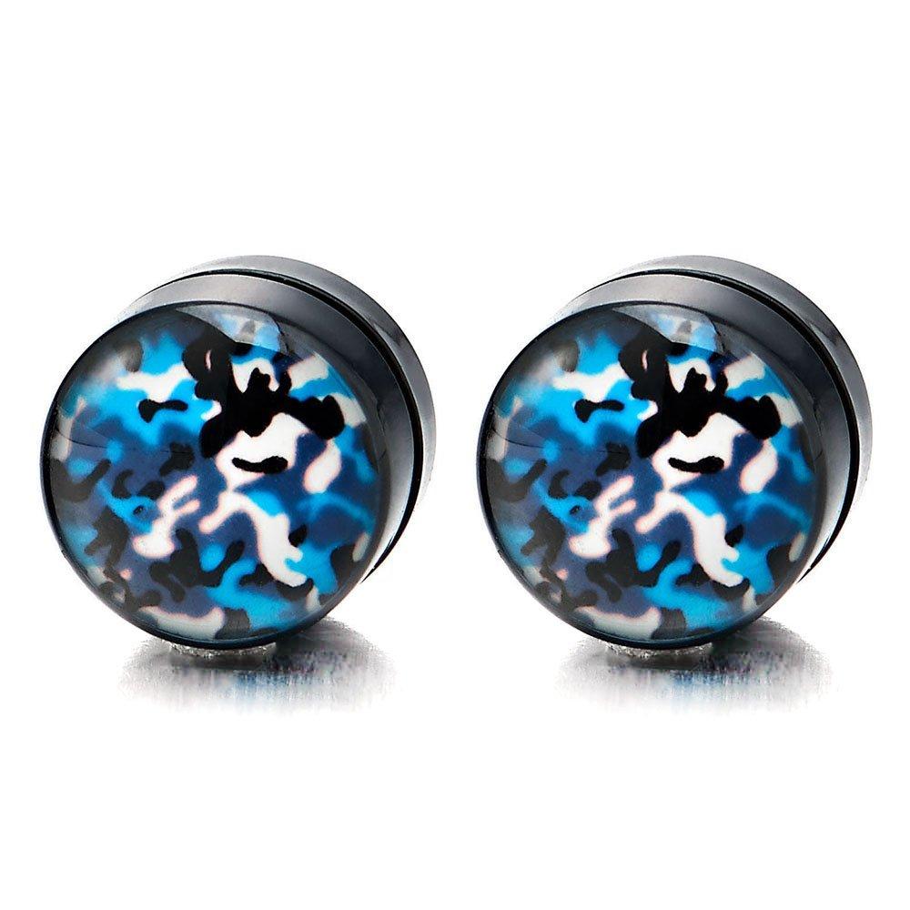 2pcs Magnetic Black Camouflage Pattern Stud Earrings Men Women, Non-Piercing Clip On Fake Ear Plug COOLSTEELANDBEYOND ME-604
