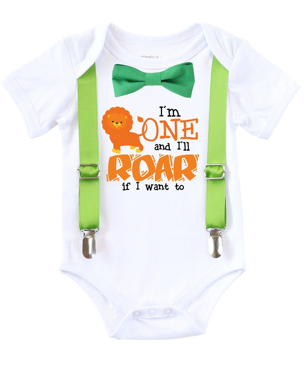 Jungle Zoo First Birthday Shirt 1st Birthday Outfit Bow Tie Suspenders