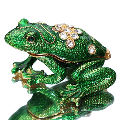Waltz&F Back drill frog Trinket Box Hinged Hand-painted Animal Figurine Collectible Ring Holder ()