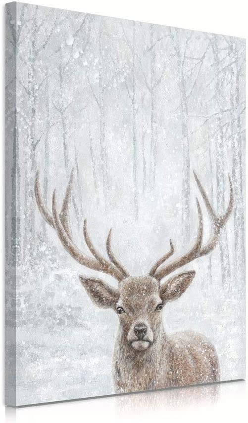 B BLINGBLING Deer Canvas Wall Decor: Natural Deer in The Snow Winter Wall Pictures for Living Room Large Size Wild Life Wall Art Bedroom Wall Art Easy to Hang (24