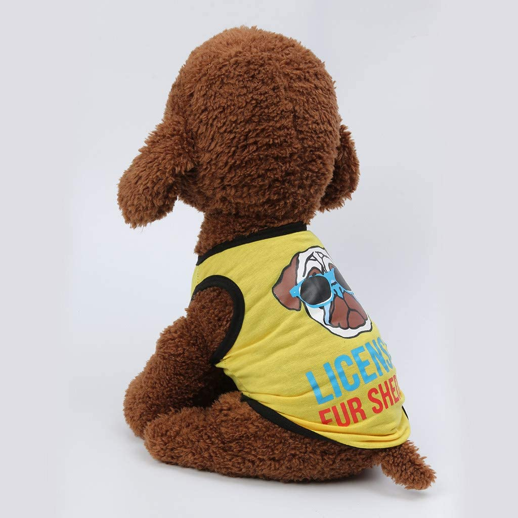 Cat Apparel Schnauzer Female Male Costume Pet Puppy Shirt Licensed Vest Clothing Wakeu Dog Clothes for Small Dogs Boy Yorkies Girl Chihuahua Summer Fall