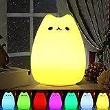 Luci notturne per bambini, omitium Luce Notturna LED, lampada gatto di ricarica silicone multicolore luce notturna, controllo sensibile luce decorazioni per camerette letto bambini