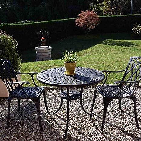 Lazy Susan - Table Ronde 90 cm MIA et 2 chaises de Jardin - Salon de Jardin  en Aluminium moulé, Coloris Bronze Ancien (chaises April, Coussins Beiges)
