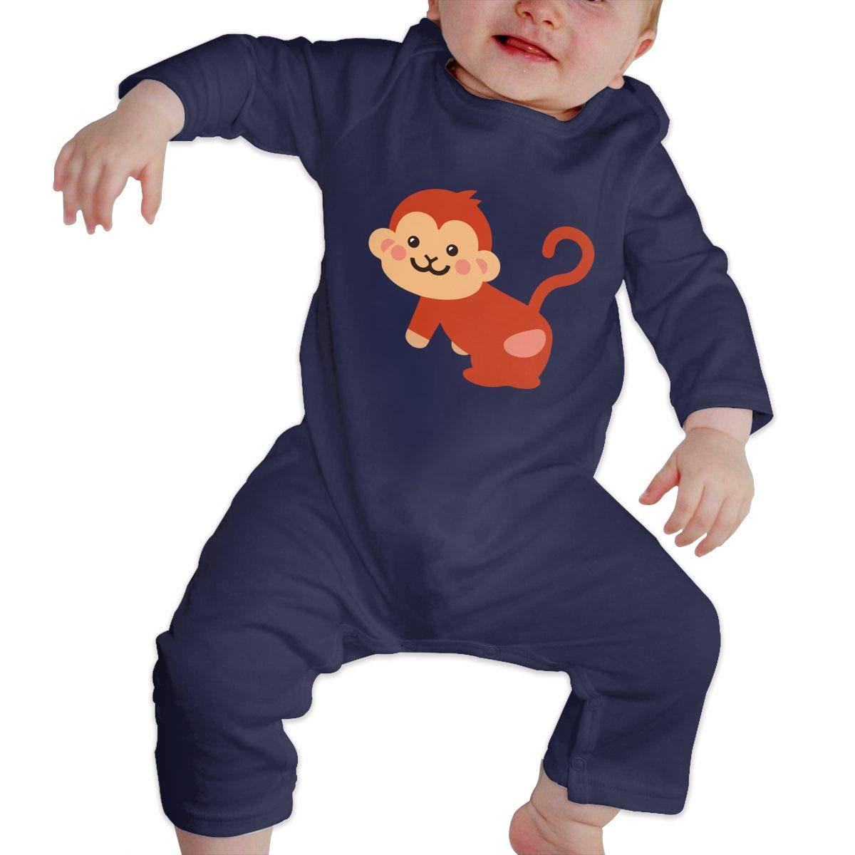 Warm Monkey Cotton Sleepwear Db84UR@5p Infant Baby Girls Boys Long Sleeve Bodysuit