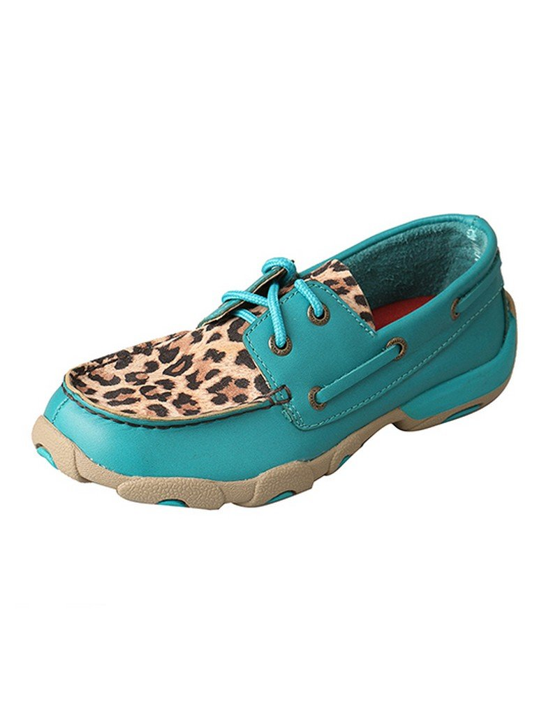 Twisted X Kid's Driving Moccasins - Turquoise/Leopard (3) by Twisted X (Image #1)