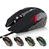 FARSIC 6D optical Gaming Mouse with adjustable 3200 DPI, up to 6 Buttons, 4 Soothing LED Colors Optional for all operating system