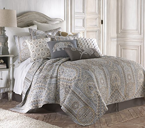 Levtex Casablanca Grey King Cotton Quilt Set Grey,Brown