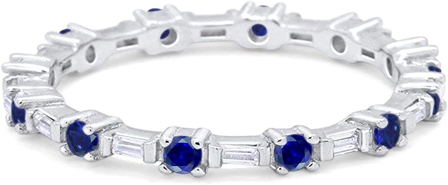 Blue Apple Co. 2mm Art Deco Full Eternity Wedding Band Round Baguette Cubic Zirconia 925 Sterling Silver