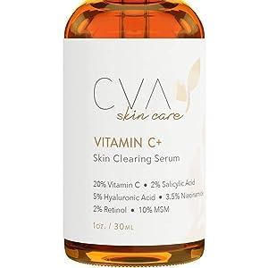 ROUSHUN Naturals Vitamin C Serum Plus 2% Retinol, 3.5% Niacinamide, 5% Hyaluronic Acid, 2% Salicylic Acid, 10% MSM, 20% Vitamin C - Skin Clearing Serum - Anti-Aging Skin Repair, Face Serum (1 oz)