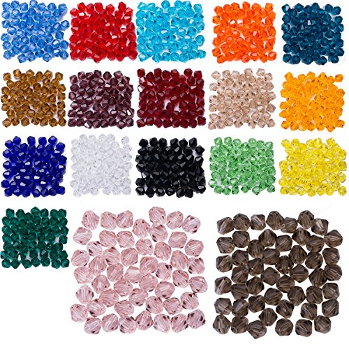 Lot 900pcs Glass Bicone Beads - LONGWIN Wholesale 6mm Bicone Shaped Crystal Faceted Beads Jewelry Making Supply for DIY Beading Projects, Bracelets, Necklaces, Earrings & Other Jewelries (Bicone 6mm Faceted Beads)