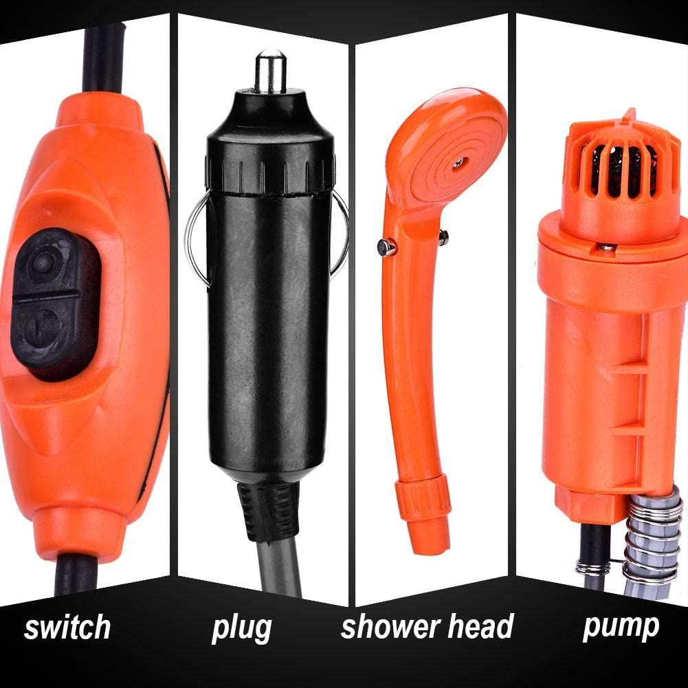Qiilu 12V Car Plug Handheld Outdoor Portable Vehicle-Mounted Shower Kit Fit for Camping Travel