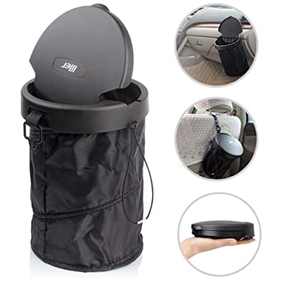 LILER Universal Car Trash Can Portable Car Garbage Bin Collapsible Pop-up Trash Can with Cover: Home & Kitchen