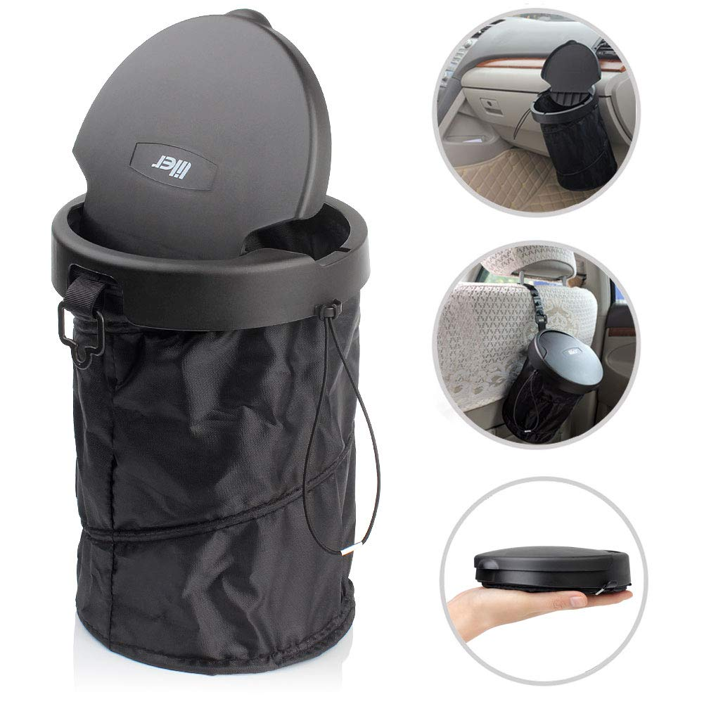 LILER Universal Car Trash Can Portable Car Garbage Bin Collapsible Pop-up Trash Can with Cover