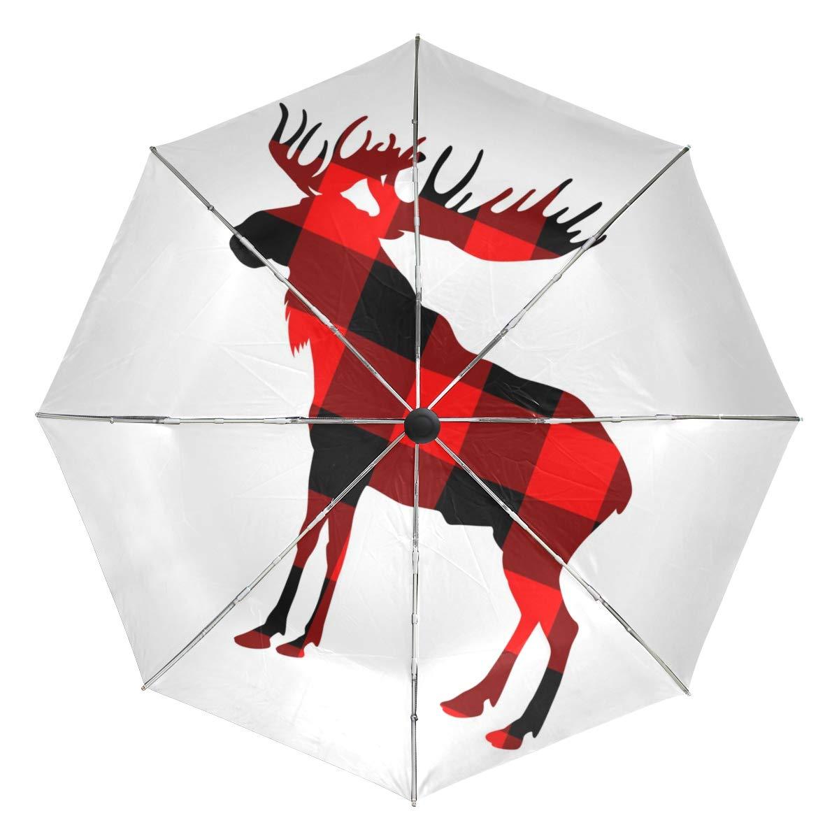 Golf Windproof Umbrella, Compact Auto Open Close Buffalo Plaid Moose Travel Umbrella