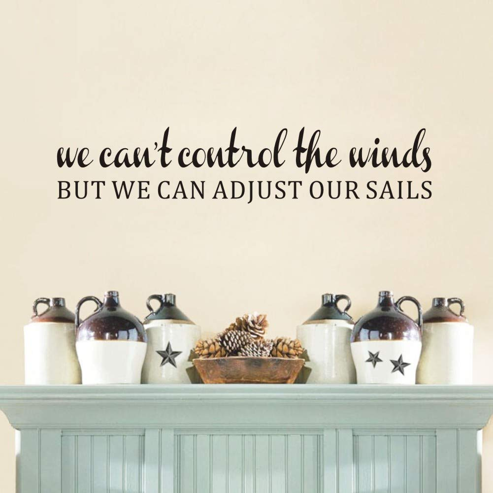 """Inspirational Letters Wall Sticker,(Black) Vinyl Motivational Words Vinyl Decal for Living Room or Office Wall Decor-""""We can't Control The Winds but we can Adjust Our Sails"""""""