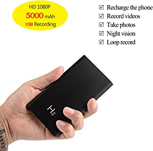 KAMRE HD 1080P 5000mAh Portable Hidden Power Bank Camera Nanny Cam, 10 Hours Continuous Video Recording, Perfect Mini Security Spy Camera for Home and Office and Outdoor, No WiFi Function